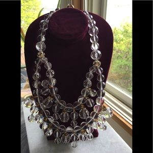 J.Crew Rhinestone Lucite BIG Chandelier Necklace
